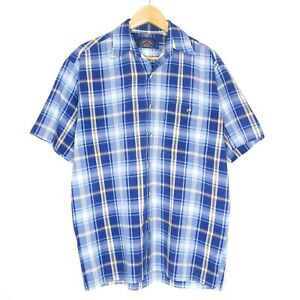 Vintage-Callan-Mens-Short-Sleeve-Bowling-Shirt-Size-M-Blue-Check-Made-In-AUS