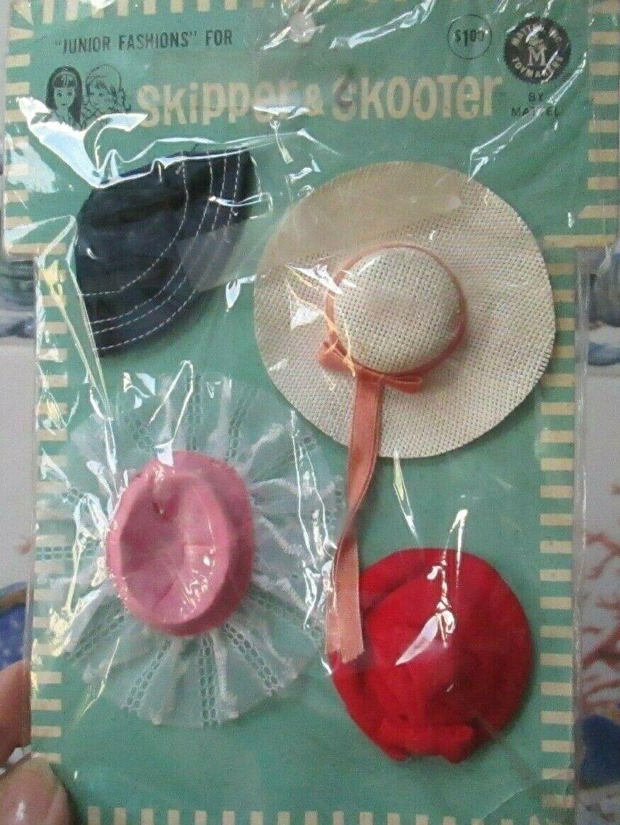 Nuevos 1964 sombreros  Japan   'N sombreros  Pak  Jr. Moda  Skipper + Skooter  nunca quitada de paquete  4 ayudante sombreros menta en tarjeta