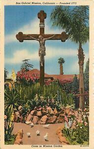 Linen-Postcard-CA-D262-San-Gabriel-Mission-Cross-in-Garden-California-ca1940s