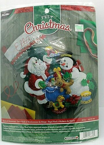 Bucilla Santa /& Snowman Felt Applique Christmas Stocking Kit New in Package