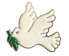 White Dove of Peace With Olive Branch Enamel Badge Religious/ Military Symbol