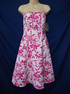 6f66ab0f6d86 New Ruby Rox Strapless Dress White Pink Floral Junior's sz 9 Retro ...