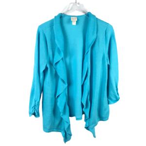 Chicos Size 2 Draped Ruffled Open Front Cardigan Large Blue 3/4 Sleeve Sweater