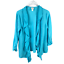 miniature 1 - Chicos Size 2 Draped Ruffled Open Front Cardigan Large Blue 3/4 Sleeve Sweater