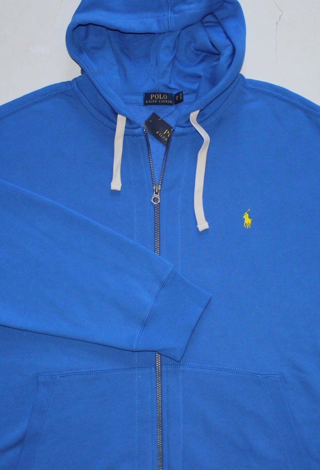 Neu Polo Ralph Lauren Blau Kapuzenpullover mit Reißverschluss / Groß 2x