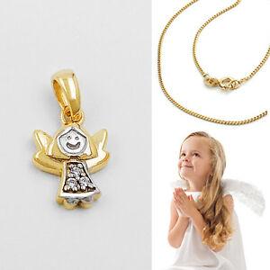 Baby Kinder Moderner Schutz Engel Echt Gold 333 Bicolor Mit Kette Silber 925 Vg Eine GroßE Auswahl An Farben Und Designs
