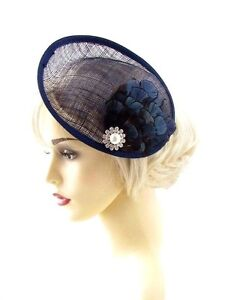 Large Navy Blue Feather Saucer Disc Fascinator Hat Races Sinamay Clip Hair 668