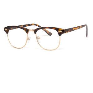 5ed1f975dc35 Details about Retro Fashion Vintage Gold Clear Lens Nerd Frames Glasses  Mens Womens Half Metal