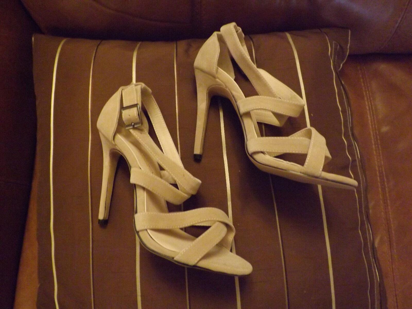 Ladies size 4 (37)beige suede sandal strappy heeled shoe brand new unworn