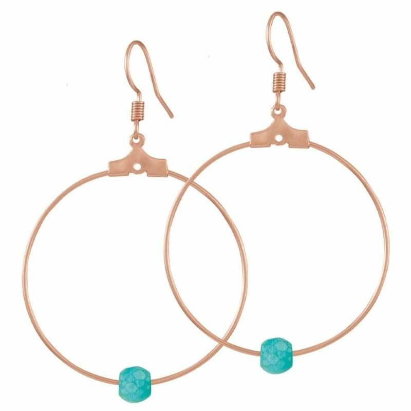 Stylistic Turquoise Howlite Rose Gold Tone Hoop Pierced Earrings