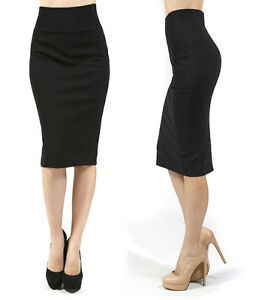 Stretch-Knit-Pencil-Skirt-High-Waisted-Below-Knee-Midi-Fitted-Bodycon-Office