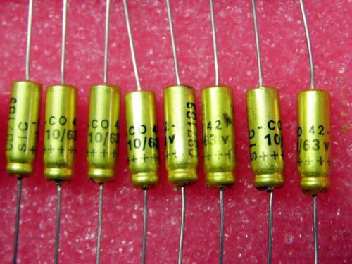 ø 7mm, l condenser 10µf 10uf 10mf 63v sic safco Axial co42 85 ° C Lot x4
