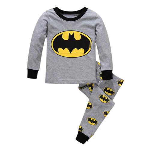 Boys Kids T-shirt Top+Pants Pajamas Set Nightwear Spiderman Clothes Outfits Pjs