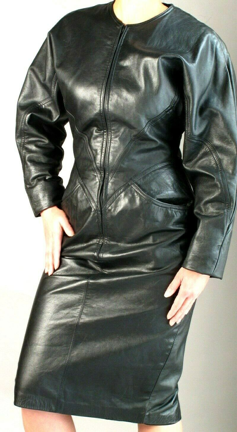 BLACK  LEATHER SHEATH  DRESS with ZIPPER FRONT  … - image 3