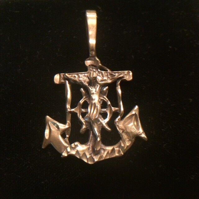 c6527400b 14k yellow JESUS CHRIST cross Anchor pendant Mariner 4.38 gram solid gold  nouokq654-Precious Metal without Stones