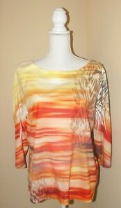 CHICO'S Yellow Brown Orange Striped 3/4 Sleeve Gold Bead Accent Tunic Top Size 2