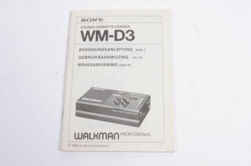 Gebrauchsanleitungen Sony WM-D3 Walkman Cassette-Corder ...