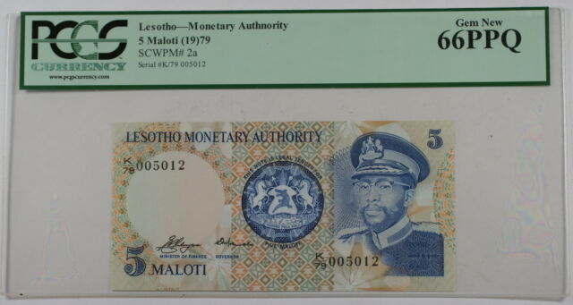(19)79 Lesotho Monetary Authority 5 Maloti Note SCWPM# 2a PCGS 66 PPQ Gem New