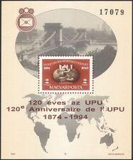 Hungary 1994 Universal Postal Union/UPU/Globe/Plane/S-on-S/Bridge imp m/s n45675
