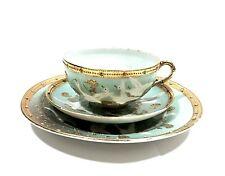 Antique Hand Decorated Gold Rimmed Jeweled Porcelain Japanese Cup, Saucer &Desse