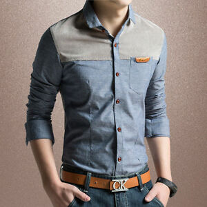 3-Colors-Z6272-Fashion-Casual-Shirts-New-Men-039-s-Long-sleeve-Slim-Dress-Shirts