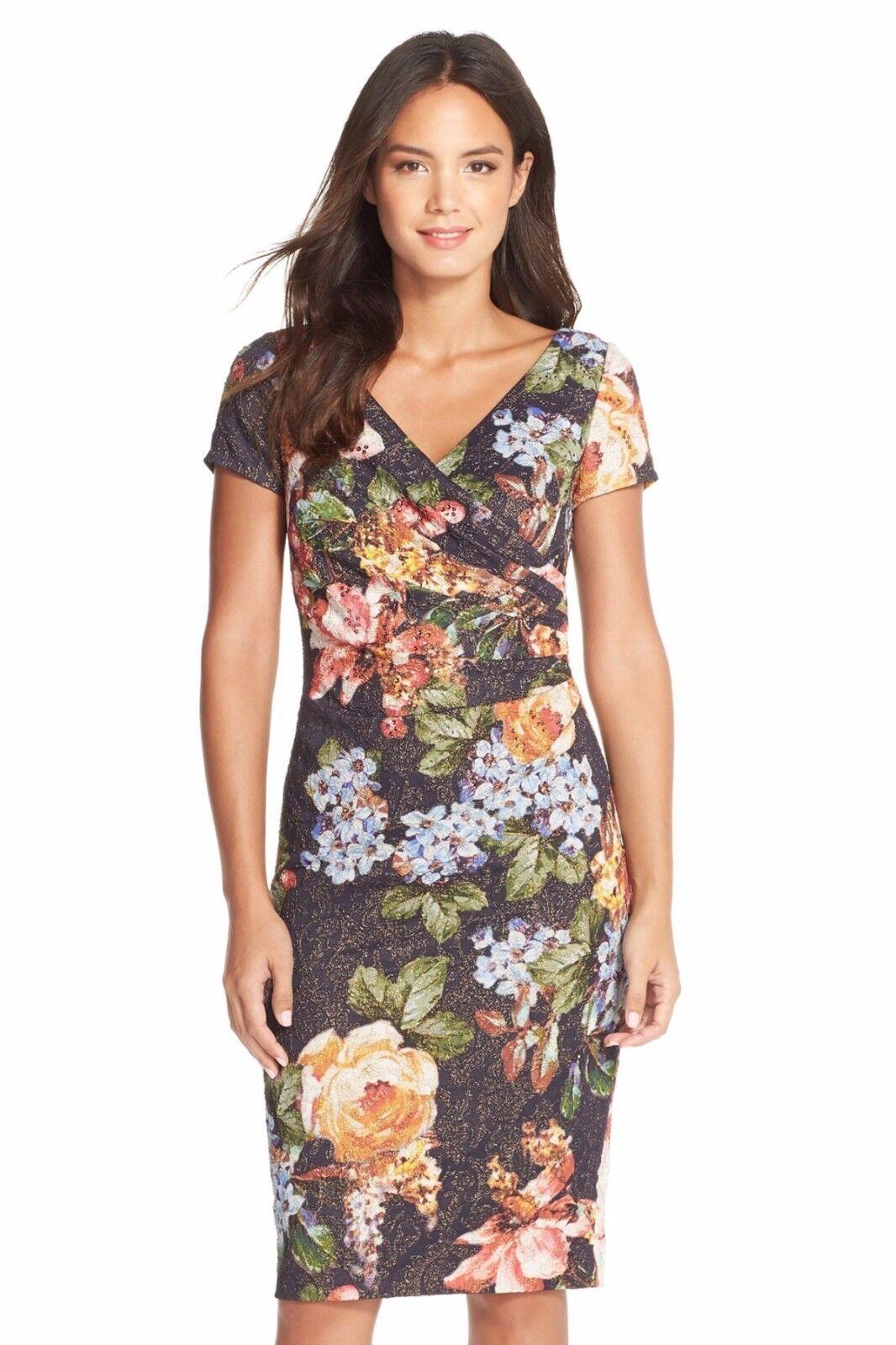 242f00204b3 Papell Matelassé Faux Wrap Sheath Dress ( Size 6) Adrianna ndyauw659 ...