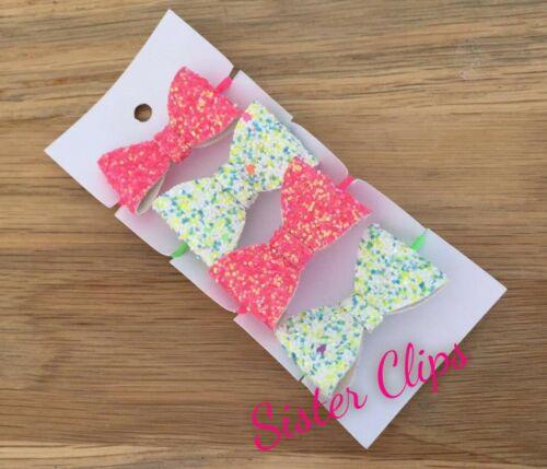 Girls Handmade 4 baby//toddler neon pink /& mix Glitter Hair Bow bobbles