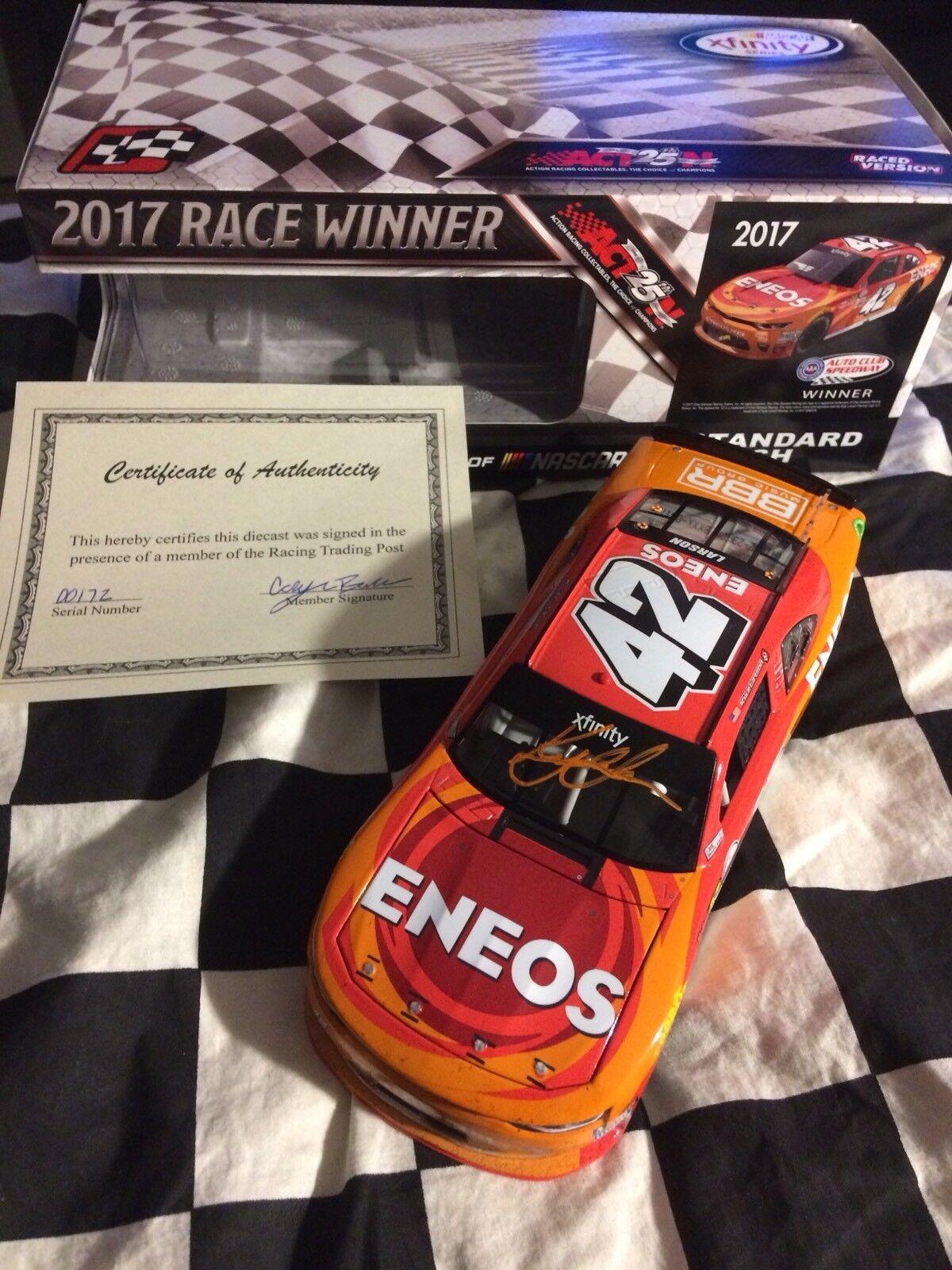 2017 Kyle Larson Eneos Fontana Win 1 24 - Autographed W coa