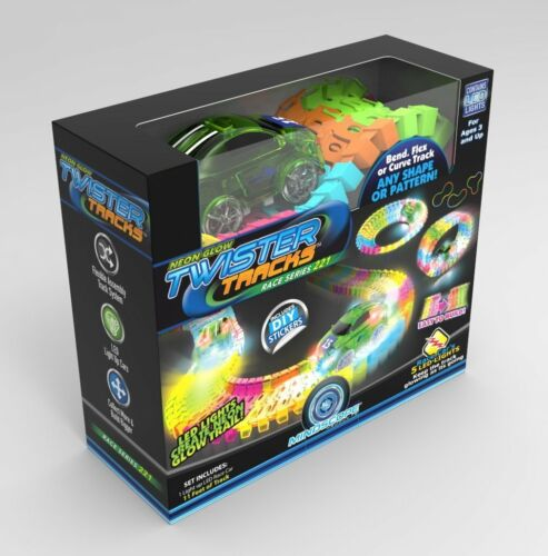 Magic Tracks Twister Tracks Neon Glow in the Dark UP Flexible Race Car 221 Piece