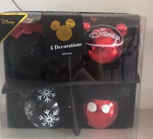 Primark-Disney-4x-Mickey-Mouse-Decorazione-Natalizia-Bauble-GLITTER-ROSSO-NERO