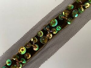 1yd Beads Lace Ribbon Sequins Crystal Bead Ribbom Crochet Sewing Craft Black