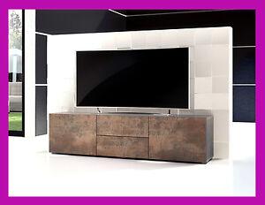 Meuble Tv Table Basse Télévision Armoire Salon Design Effet Acier