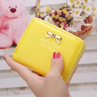 Women Leather Short Small Mini Wallet Card Holder Zip Coin Purse Clutch Handbag