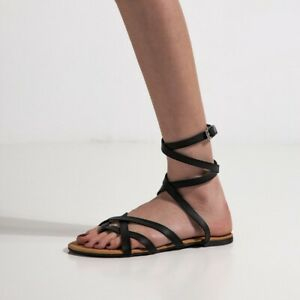 Details about New Women's Sandals Peep Toe Buckle Strap Flat Roma Summer Beach Shoes Plus size