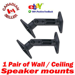 2-Universal-Speaker-Wall-Mount-Bracket-Swivel-Black-perfect-bose-cube-amp-others