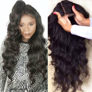 Remy-Pre-Plucked-Brazilian-Virgin-Human-Hair-Full-Lace-Wig-Silk-Top-Body-Wave-sg