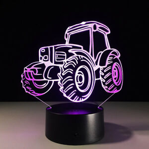 HO-FT-3D-Tractor-Table-Lamp-Bedroom-Touch-Night-Light-7-Colors-LED-Home-Decor