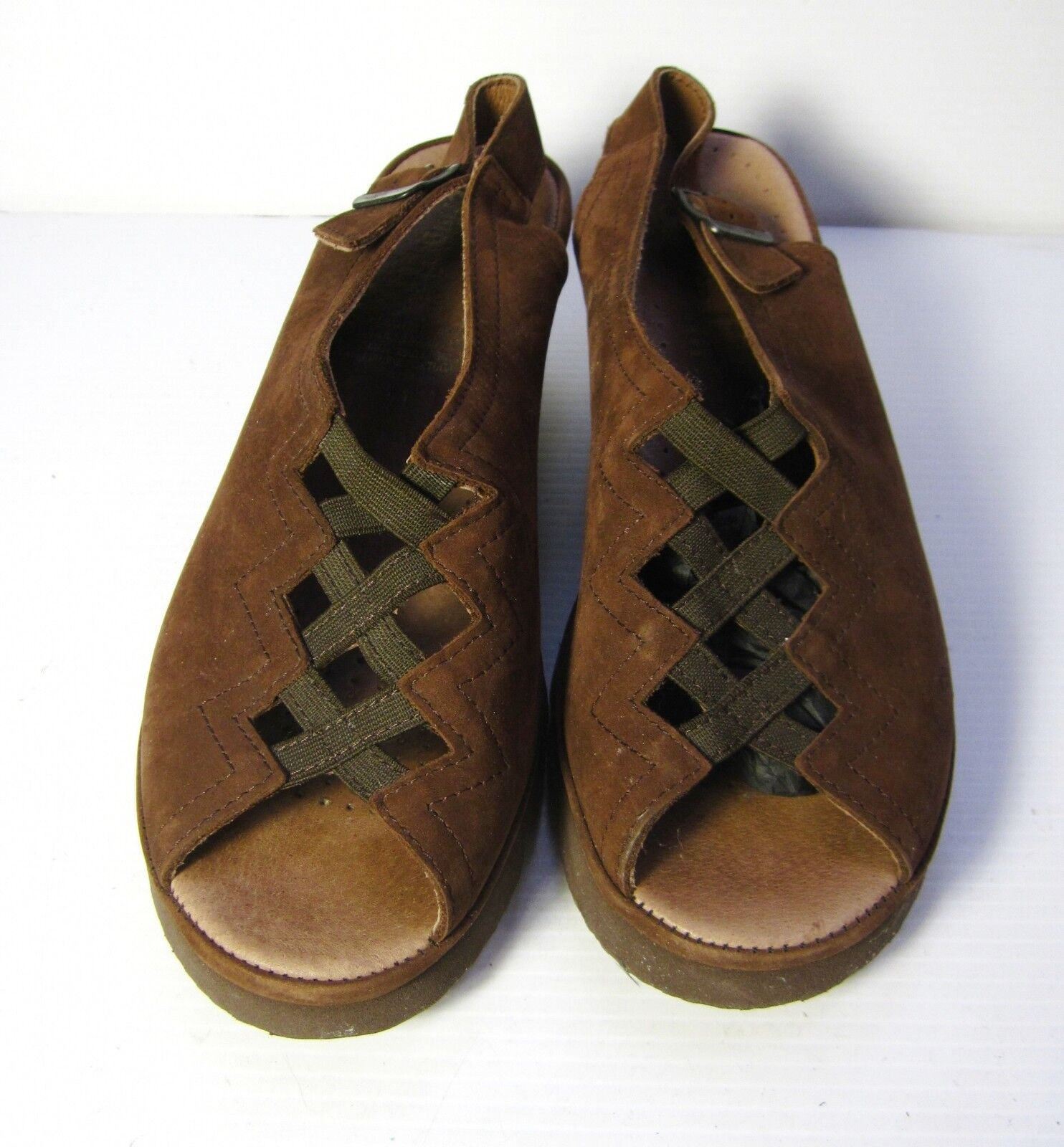 Spring Step SLINGBACK SCARPE SIZE 41 open Toe Casual Comfort Brown Suede Sandal
