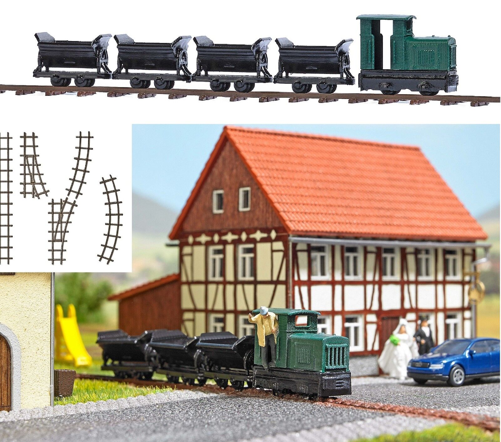 BUSCH 8070 Spur N, Feldbahn-Set, Bausatz, Neu    Elegant und feierlich