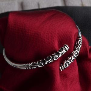 925-Silver-Plated-Carved-Bangle-Cuff-Charm-Bracelet-Women-Lady-Fashion-Jewelry
