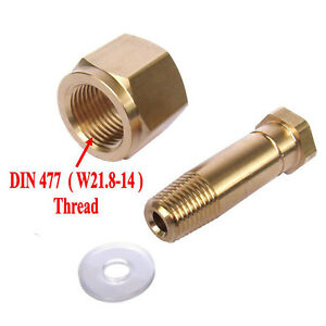 DIN 477/ W21.8 CO2 Carbon Dioxide Regulator Inlet Nut & Nipple with Washer