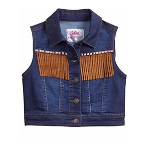 2ec40124c Justice Denim Fringe Jean Vest Size 12/14 Girls New with tags | eBay