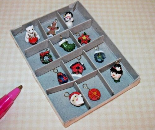 "DOLLHOUSE 1:12 Scale Miniature /""GLITTER/"" Christmas Ornaments w//Bails Set of 12"