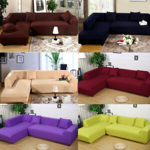 Exceptionnel Details About Universal L Shape Sofa Covers   2pcs Fabric Stretch  Slipcovers+2pcs Pillowcovers