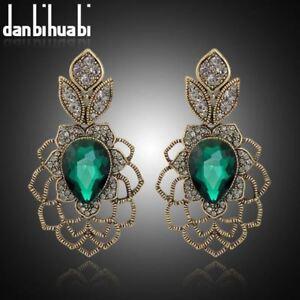 Danbihuabi-Vintage-long-Earrings-Antique-gold-green-stone-austrian-crystal-Drop