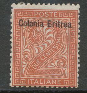 ITALIAN-ERITREA-1893-2-C-maroon-with-overprint-Colonia-Eritrea-UNUSED-M-M