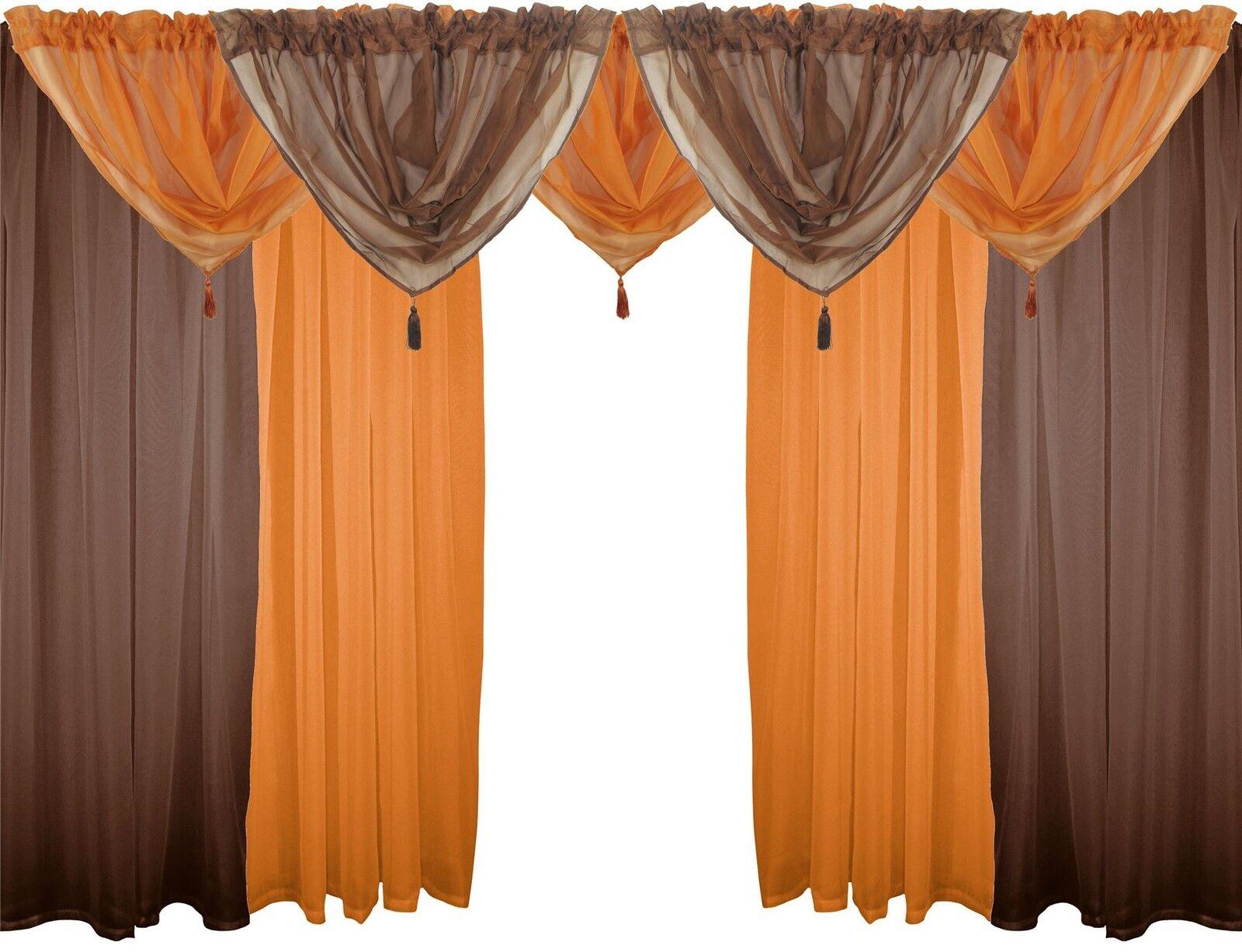Marronee e Arancio 9 Pezzi Velo Set 183cm Canale Bordo Superiore per Bastone