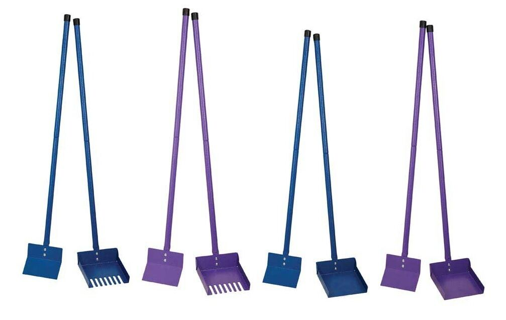 Sanitary Steel color Pooper Scooper blueee or Purple With Rake Shovel Poop Scoop