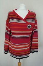 Next Purple Red Orange Grey Black Striped Wool Blend Wrap Cardigan Size L 16-18