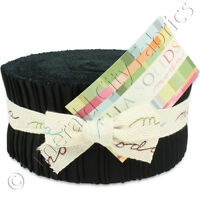 Moda Bella Solids Black Jelly Roll Fabric 40 2.5x44 Quilting Quilt Strips Kit